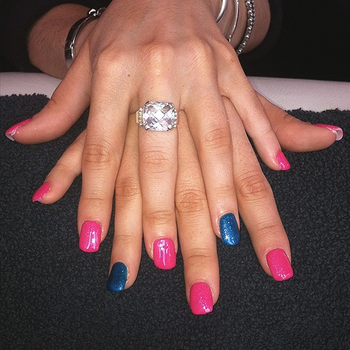 Bio Sculpture Gel extensions with colour overlay and accent nail
